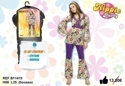 Déguisement Baba Cool Hippie Femme Taille U