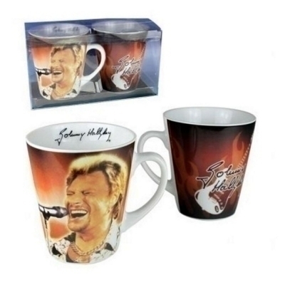 Coffret 2 Mugs Johnny Hallyday - Modèle orange
