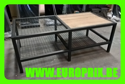 PRESENTOIR TABLE METALLIQUE GRILLAGE ET BOIS VINTAGE